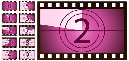 retro film countdown pink on white background. Isolated vector objects. EPS 10 Ilustração Vetorial