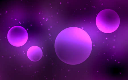 Abstract space background in purple with planets and stars. Vector illustration.