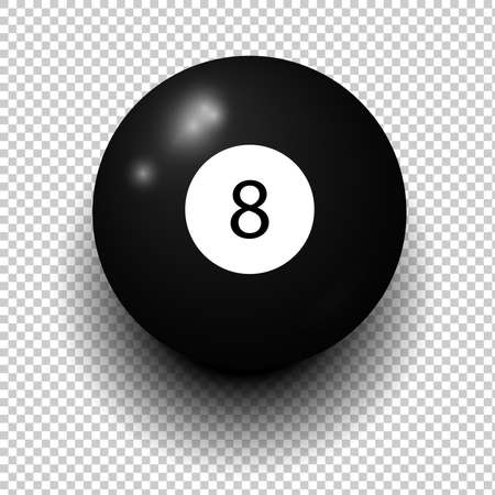 Stock vector of billiard ball number 8. Black color. Isolated wind object on transparent background.