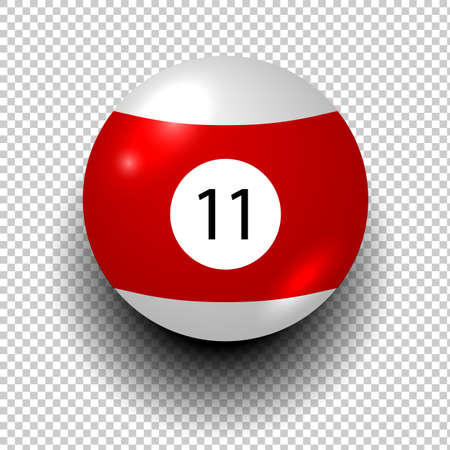 billiard ball number 11. Red and white color. Isolated wind object on transparent background