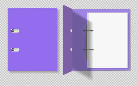 Realistic violet folder for papers. Closed and open with a sheet of papers, on a transparent background