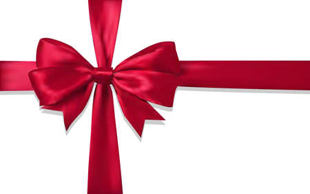 Realistic Red Gift Bow on a white background. Isolated vector object.