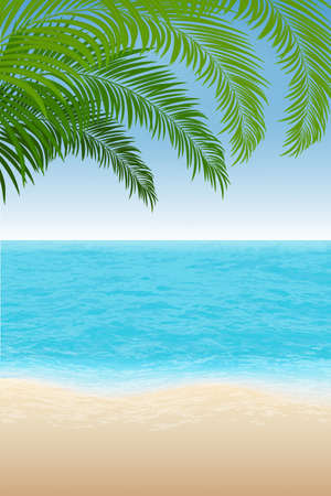 summer background. Relistic Beach, tropical sea and palm trees