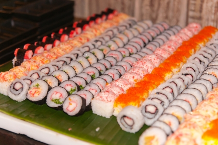 brigt: Row of sushi  Stock Photo