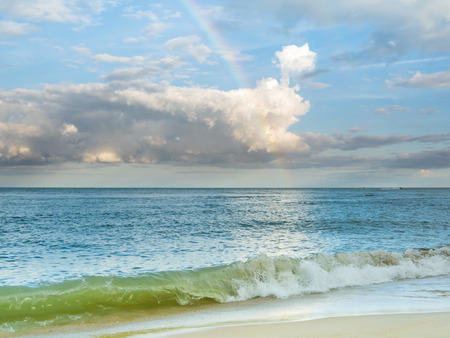 soul searching: Colorful Rainbow over a tropical ocean
