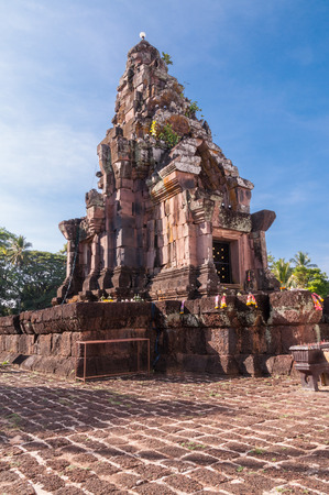 stu: Phra That Narai Cheng Weng,The sandstone pagoda is on a laterite base. Stock Photo