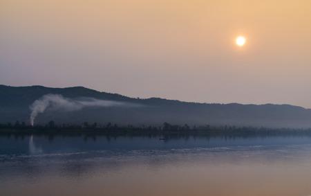 sun set: Beautiful scene of sun set at Khong river