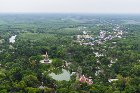 ki: view from Phu Tok, mountain in Wat Je Ti Ya Ki Ree Vi Harn. is tourist attraction with wooden trail round of the 7 floors mountain.