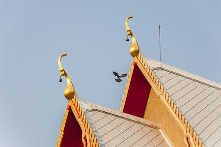 Pigeon fly near Thai temple roof with clear blue sky