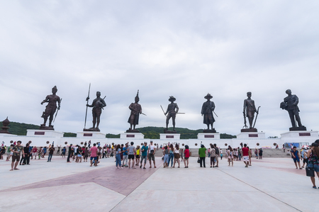 Prachuap Khiri Khan,Thailand-August 23, 2015 : Traveler sight seeing around majestic Rajabhakti Park in Hua Hin which grand opening on 27 September 2015,Rajabhakti Park is a historic park to honor seven great ancestral kings from the Sukhothai period to t