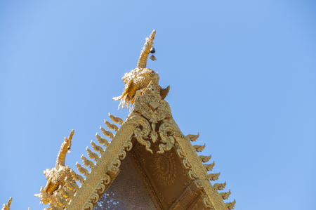 Nan, Thailand- October 14,2015:Beautiful roof of Wat Si Pan Ton on sunny day