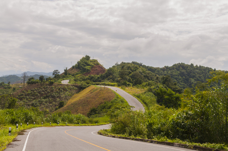 Road to the nature along the mountains in Nan province, Thailand