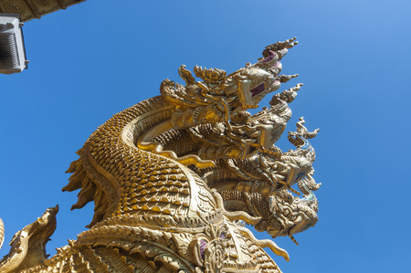 Nan, Thailand- October 14,2015:Beautiful ofserpent in front of Wat Si Pan Ton on sunny day