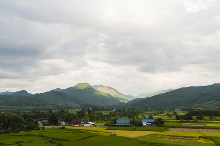 Rice paddy and rainbow in Nan,Thailand