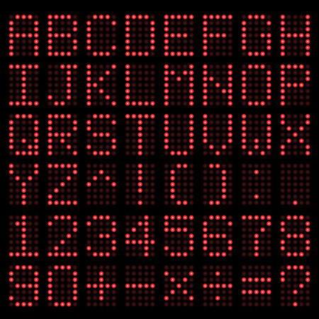 Digital Alphabet and Number  Red electronic LED  Vector Vector
