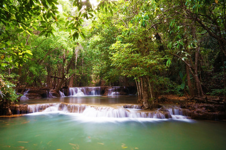 Huai Mae Khamin Waterfall. The most popular places in Kanchanaburi Province, Thailand