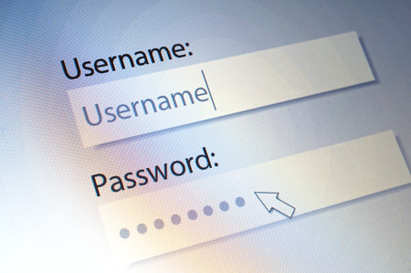 Login. Username and Password on Computer Screen photo