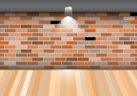 vacant: Empty room with wooden floor on brick wall. Illustration