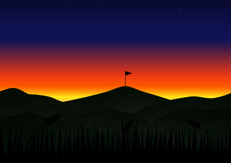 Twilight sunset beautiful landscape with flag background. Illustration