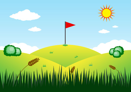 Flag on mountain Illustration Vector