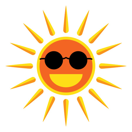 Sun smile with sunglasses on white background Illustration