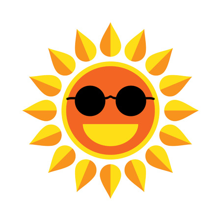 Sun smile with sunglasses on white background. Vector Illustration