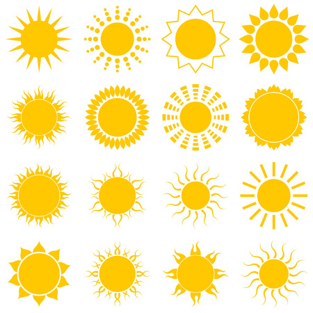 Sun icon set on white background Illustration Vector
