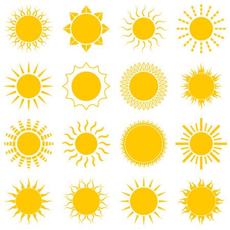 red sun: Sun icon set on white background Illustration