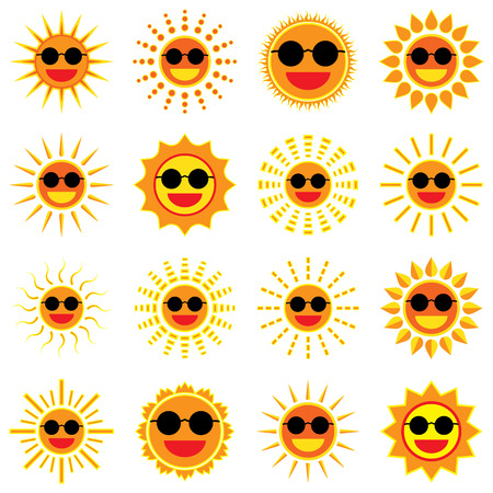 Sun smile and wear sunglass icon set on white background Illustration Vector