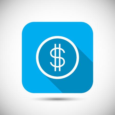 us coin: Moneda del dinero plana larga sombra icono Ilustraci�n