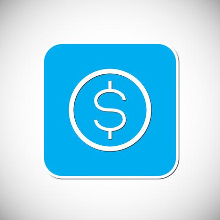 us coin: Dinero icono moneda Marco cuadrado azul.