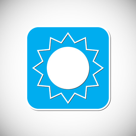 Sun Icon. Blue Square Frame Illustration Illustration