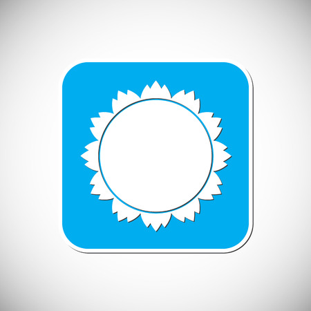 Sun Icon Blue Square Frame Illustration