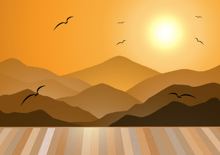 free range: Evening mountains and sunset with birds fly and wooden floor background. Illustration