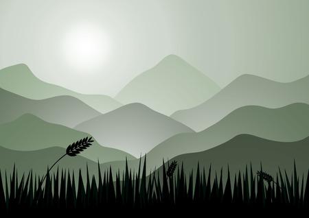 bonne aventure: montagnes du matin et le lever du soleil arrière-plan.