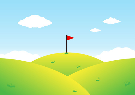Mountain and flag Illustration Vector