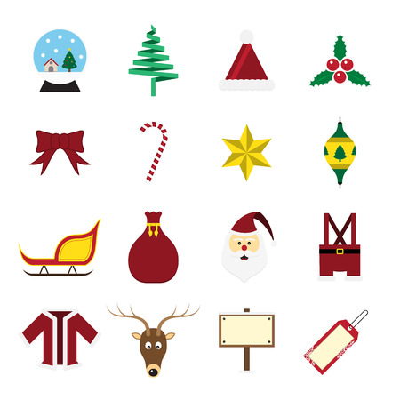 Christmas icon set on white background vector illustration Vector