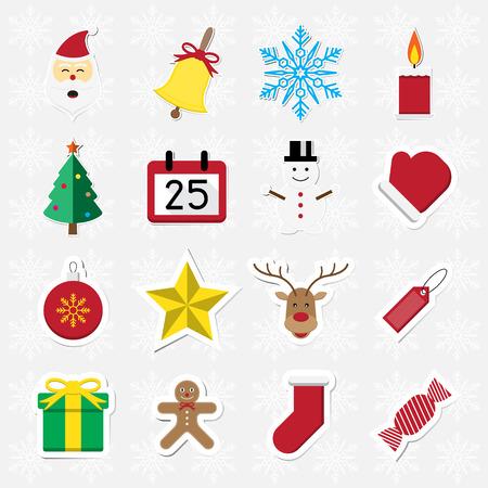 Christmas sticker icon set on white snowflake background vector illustration Illustration