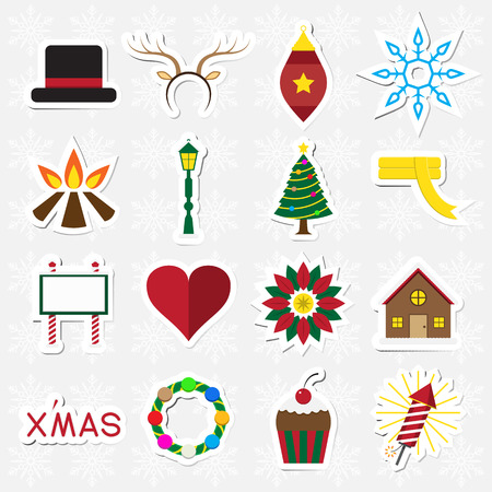 Christmas sticker icon set on white snowflake background vector illustration Vector