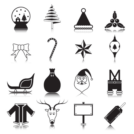 Christmas with reflection icon set on white background vector illustration Vector