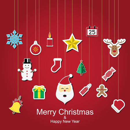 Christmas sticker icon hanging design with red background vector illustration Vector