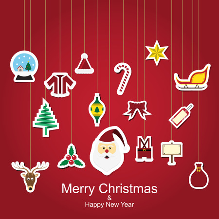 Christmas sticker icon hanging design with red background Vector