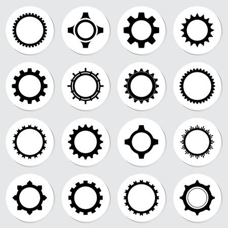 Gear circle sticker icon set vector illustration Vector