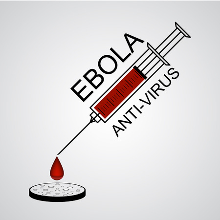 anti virus: The Syringe of Ebola anti virus with drop into petri dish vector illustration Illustration