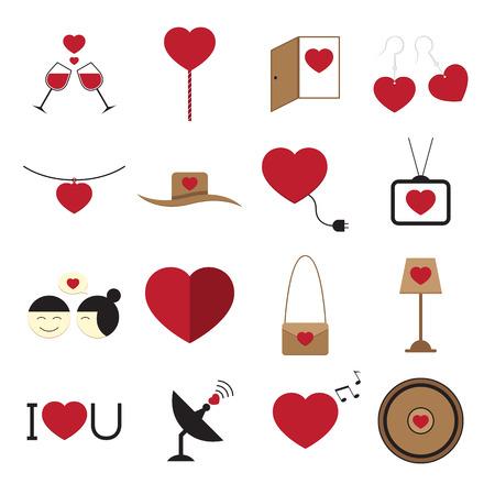 pendant lamp: Valentine icon set on white background vector illustration Illustration