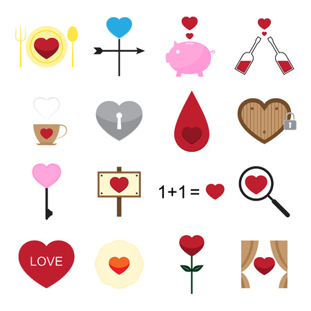 Valentine icon set on white background vector illustration Vector