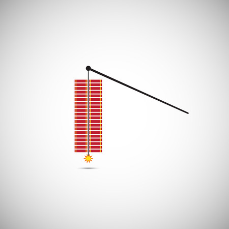 Red Vector Fire Crackers for Chinese New Year Illustration