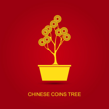 Vector Chinese Coins Tree Pot on red background