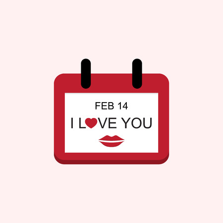 14 feb: Vector Love Valentine Day Calendar with I Love You and Mouth Illustration Illustration