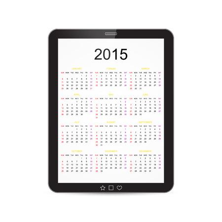 Vector Calendar 2015 Tablet Illustration Vector